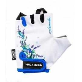 Велоперчатки VINCA SPORT светло голубые с цветами