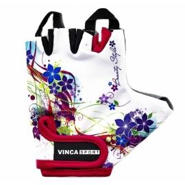 Велоперчатки VINCA SPORT белые с цветами