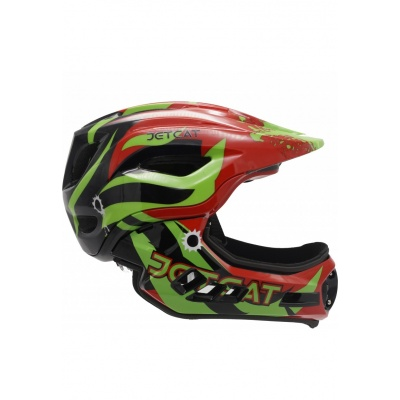 Шлем детский FullFace Jet Cat Raptor (Red/Black/Green, р.53-58 см)