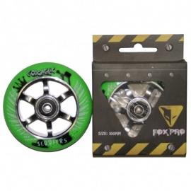 Колесо для самоката FOX 100 мм (зеленый/серебро)