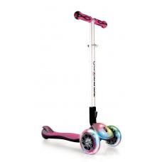 Самокат Globber Elite FL со светящейся платформой и колесами розовый