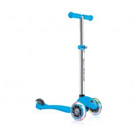Самокат Globber Primo Lights со светящимися колесами голубой