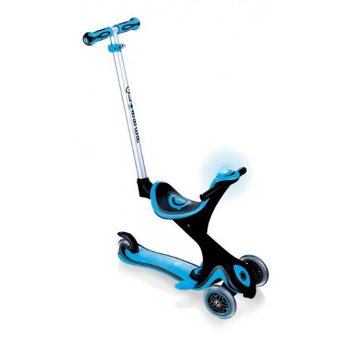 Самокат Globber Evo 5 in 1 Comfort Play со светящимися колесами голубой