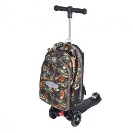 Самокат Micro Maxi 4 в 1 с рюкзаком трёхколёсный чёрный