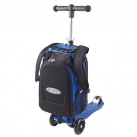 Самокат Micro Maxi 4 в 1 с рюкзаком трёхколёсный синий