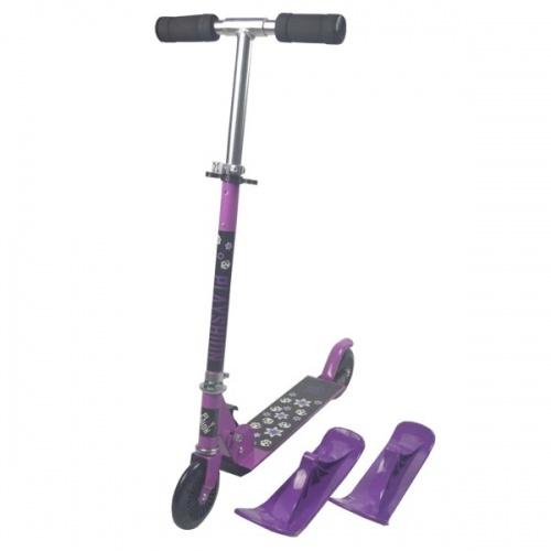 Зимний самокат на лыжах Playshion 2в1 Kids SnowScooter фиолетовый