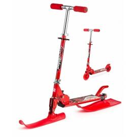 Снежный самокат-снегокат с лыжами и колесами Small Rider Combo Runner 120 красный