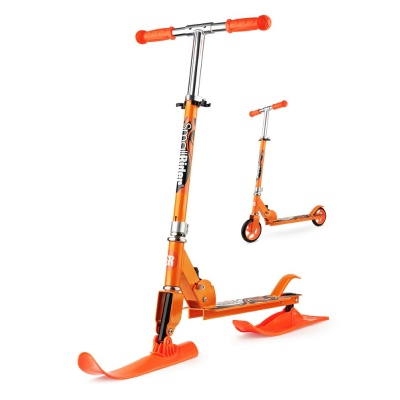 Зимний самокат-снегокат на лыжах с колесами Small Rider Combo Runner 145 оранжевый