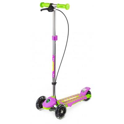 Самокат Small Rider Galaxy со светящимися колесами и тормозом зелено-фиолетовый