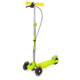 Самокат Small Rider Galaxy со светящимися колесами и тормозом зелено-желтый