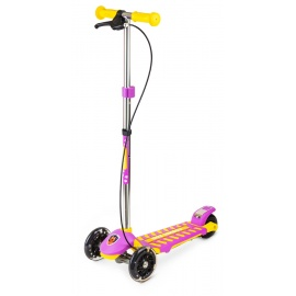 Самокат Small Rider Galaxy со светящимися колесами и тормозом желто-фиолетовый