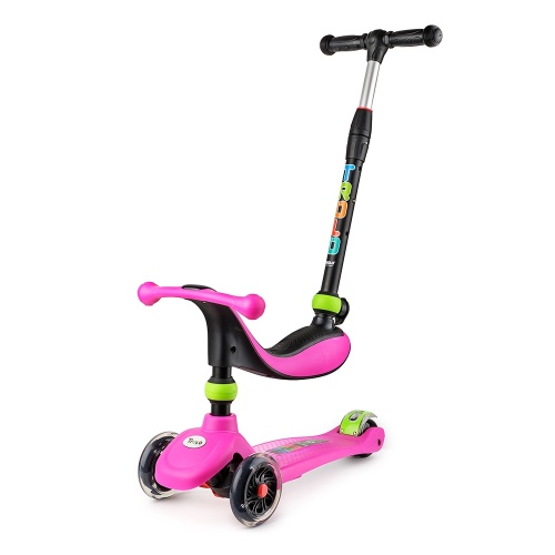 Самокат Trolo Rino 2017 3 в 1 со светящимися колесами розовый