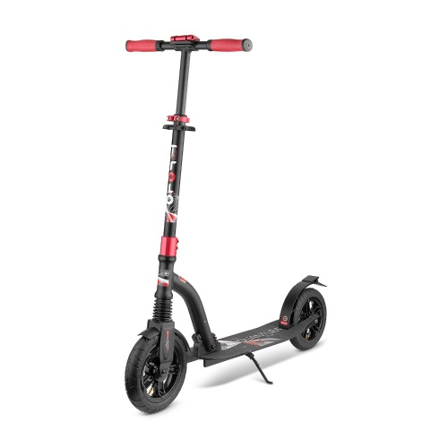 Самокат Trolo LUX Quantum Air черно-красный с надувными колесами складной