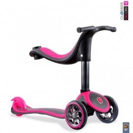 Самокат Y-Scoo Globber My free Seat 4 in 1 Titanium розовый неон