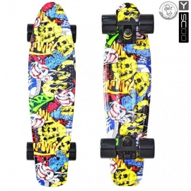 "Мини-круизер Y-Scoo Fish Skateboard Print 22"" с сумкой Cartoon"